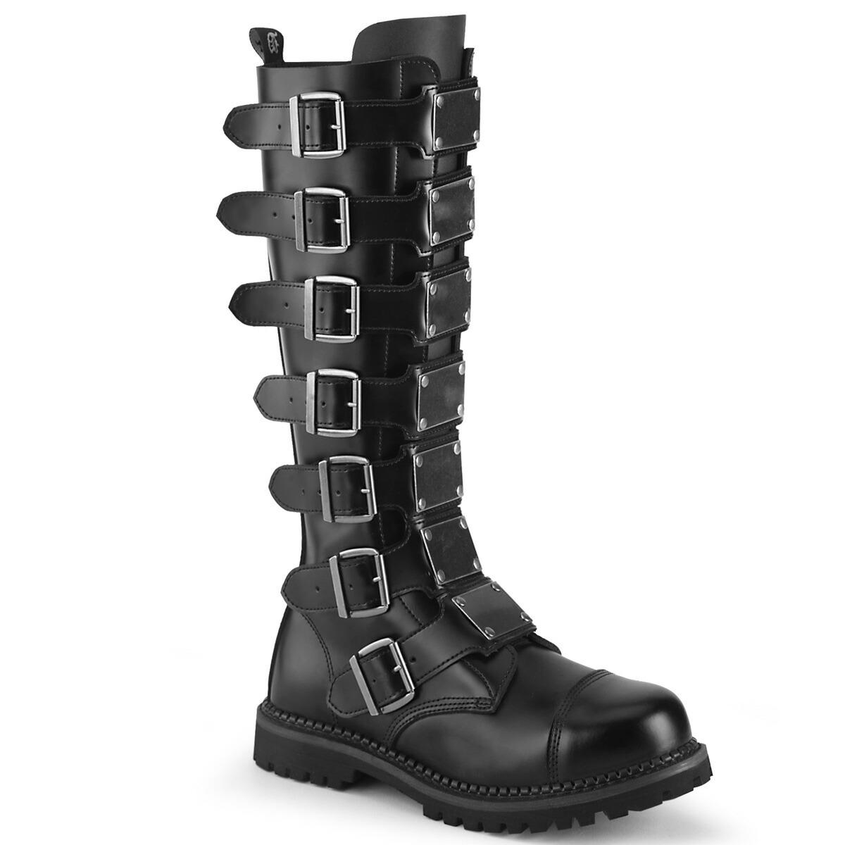 DEMONIA【取り寄せ】マルチプルバックルメタルプレートロングブーツ/品番:RIOT-21MP/RIOT21MP/2cmソール/ゴシック/原宿系/原宿ファッション/フェティッシュ/メンズ/ユニセックスシューズ/大きいサイズ/靴/リアルレザーブラック/黒
