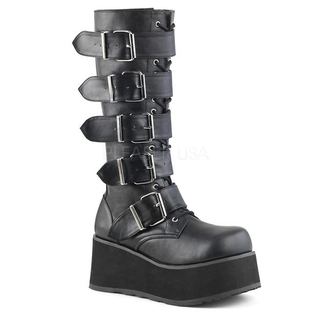 DEMONIA【取り寄せ】デモニア:品番:TRASHVILLE-518/ゴスパンクバックルロングブーツ/合皮ブラック/黒