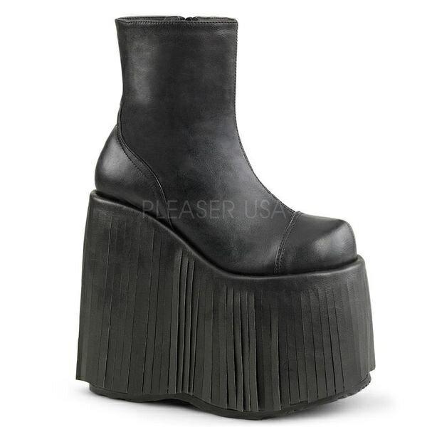DEMONIA【取り寄せ】デモニア・品番:SLAY-205/フリンジショートブーツ/ブラック/黒