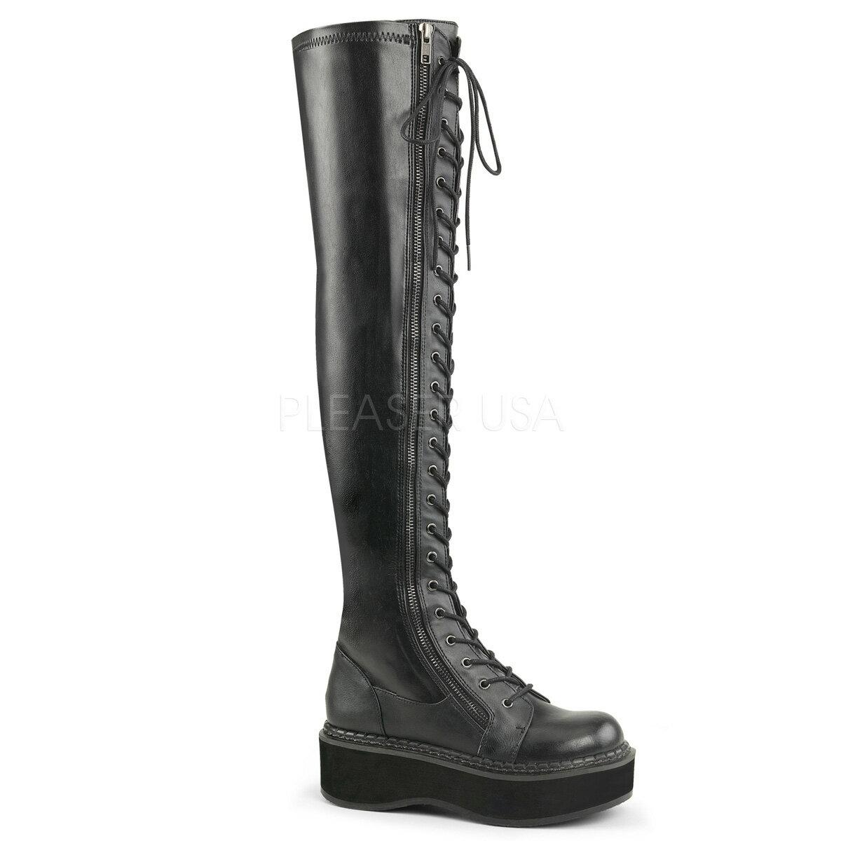 DEMONIA【取り寄せ】デモニア・レースアップサイハイブーツ/品番:EMILY-375/EMI375/5cmソール/ゴシック/原宿系/フェティッシュ/厚底靴/厚底シューズ/大きいサイズ/靴/フェイクレザーブラック/黒