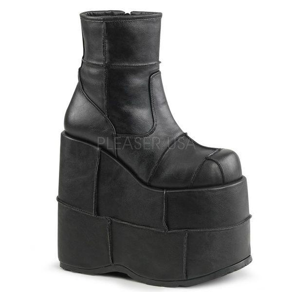 DEMONIA【取り寄せ】デモニア・品番:STACK-201/STA201/パッチワーク超厚底ショートブーツ/ブラック/黒