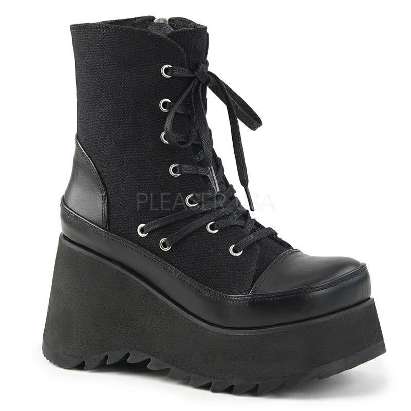 DEMONIA【取り寄せ】キャンバスレースアップショートブーツ/品番:SCENE-50/SCE50/9cmソール/ゴシック/原宿系/原宿ファッション/フェティッシュ/スニーカーブーツ/厚底靴/厚底シューズ/大きいサイズ/靴/ブラック/黒
