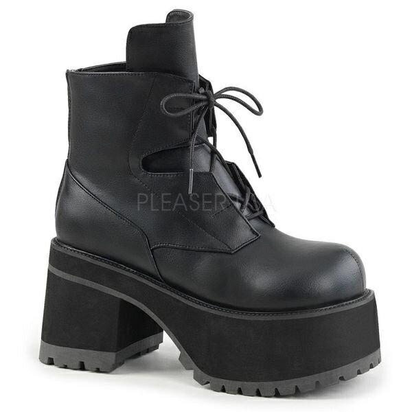 DEMONIA【取り寄せ】レンジャーレースアップ厚底ショートブーツ/品番:RANGER-102/RAN102/9cmソール/ゴシック/原宿系/フェティッシュ/厚底靴/厚底シューズ/大きいサイズ/靴/フェイクレザーブラック/黒