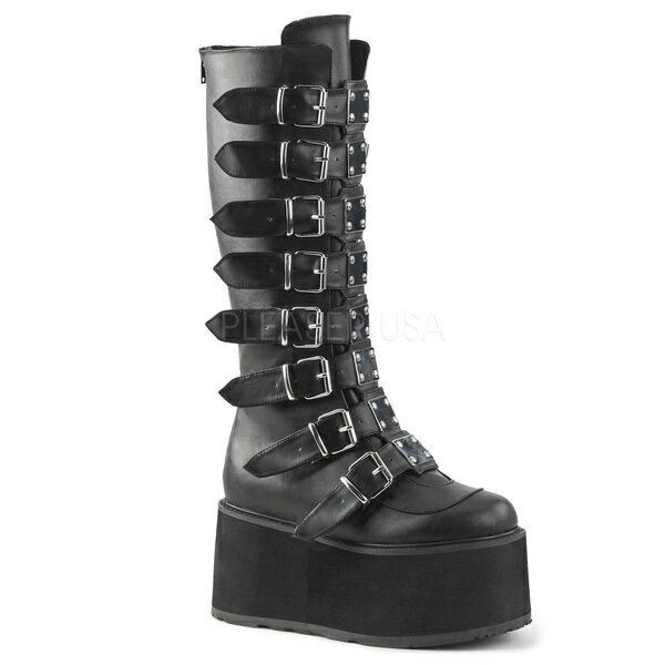 DEMONIA【取り寄せ】バックレットストラップロングブーツ/品番:DAMNED-318/DAM318/9cmソール/ゴシック/原宿系/原宿ファッション/フェティッシュ/厚底靴/厚底シューズ/大きいサイズ/靴/フェイクレザーブラック/黒