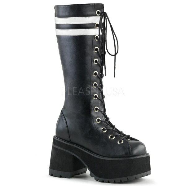 DEMONIA【取り寄せ】ホワイトストライプ厚底ニーハイロングブーツ/品番:RANGER-320/RAN320/9cmソール/ゴシック/原宿系/フェティッシュ/厚底靴/厚底シューズ/大きいサイズ/靴/フェイクレザーブラック/黒