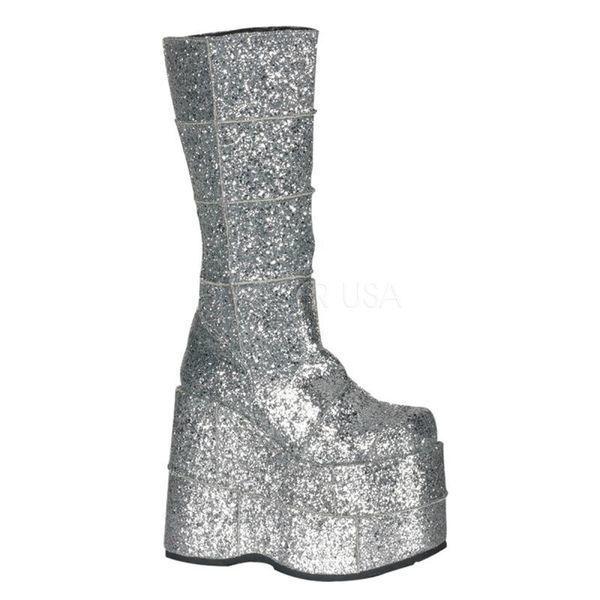 DEMONIA【取り寄せ】パッチワークグリッター超厚底ロングブーツ/品番:STACK-301G/STA301G/18cmヒール/ゴシック/原宿系/フェティッシュ/厚底靴/厚底シューズ/靴/シルバー/銀