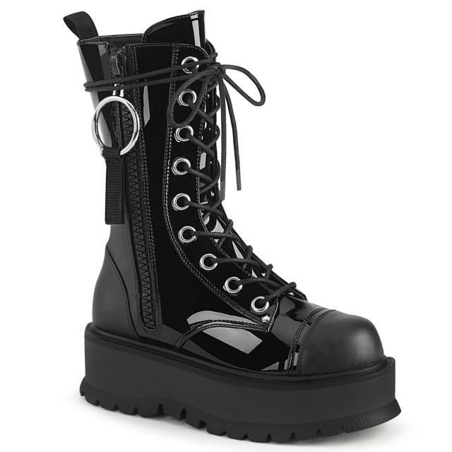 DEMONIA【取り寄せ】デモニア・ミッドカーフサイドジップ厚底ブーツ/品番:SLACKER-220/SLK220/5cmヒール/厚底靴/厚底ショートブーツ/ゴシック/フェティッシュ/5cmヒール/ブラック/黒
