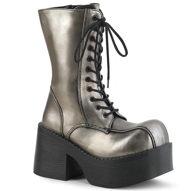 DEMONIA【取り寄せ】おでこ靴厚底ロングブーツ/品番:PLATOON-202/PLA202/12cmヒール/ゴシック/原宿系/原宿ファッション/フェティッシュ/厚底靴/厚底シューズ/大きいサイズ/靴/フェイクレザーピューターグレー