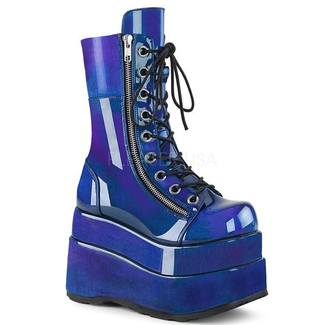 DEMONIA【取り寄せ】デモニア・ティアードプラットフォームミッドカーフ厚底ロングブーツ/品番:BEAR-265/BEAR265/11cmヒール/ゴシック/原宿系/原宿ファッション/フェティッシュ/超厚底靴/厚底靴/厚底シューズ/ブルーパープル