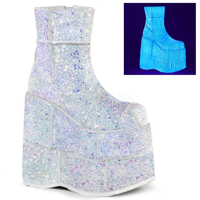 DEMONIA【取り寄せ】パッチワークマルチグリッター超厚底ショートブーツ/品番:STACK-201G/STA201G/17cmヒール/ゴシック/原宿系/フェティッシュ/厚底靴/厚底シューズ/靴/ホワイト/白