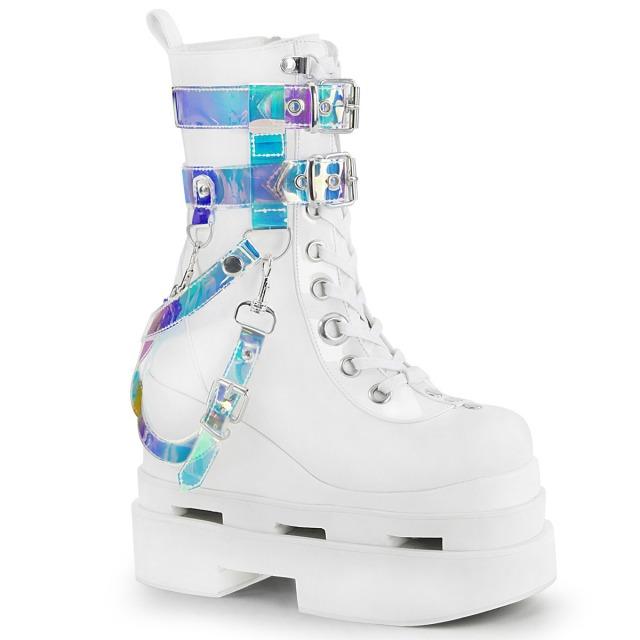 DEMONIA【取り寄せ】ウェッジソールハーネス厚底ショートブーツ・品番:ETERNAL-115/ETL115/13cmヒール/ゴシック/原宿系/フェティッシュ/厚底靴/厚底シューズ/ホワイト/白