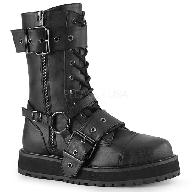 DEMONIA【取り寄せ】デモニア・品番:VALOR-220/ハーネスストラップショートブーツ/ブラック/黒