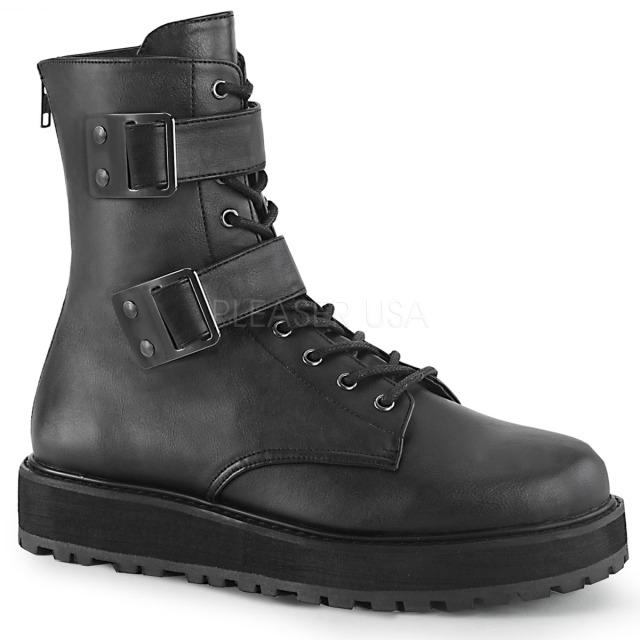 DEMONIA【取り寄せ】デモニア・品番:VALOR-250/ホックンループストラップショートブーツ/ブラック/黒