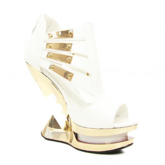 hades【取り寄せ】ヘイディーズ/hades footwear・品番:NEBULA/ネブラ/厚底サンダル/ジョーズヒール/エナメルホワイト/白×金