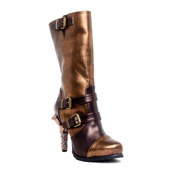 hades(ヘイディーズ)【取り寄せ】hades footwear/品番:ARMA/アルマ/レザー厚底ロングブーツ/ブラウン×ゴールド/茶×金