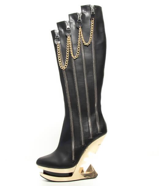 hades(ヘイディーズ)【即納】hades footwear/品番:ONYX/オニキス/ジョーズヒールウエッジソールデザイン厚底合皮ロングブーツ/ブラック/黒/フェイクレザー