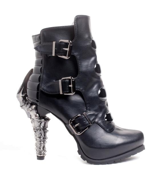 hades(ヘイディーズ)【即納】hades footwear/品番:NEO/ネオ/異素材/フェイクレザー×エナメル厚底ショートブーツ/ブラック/合皮黒