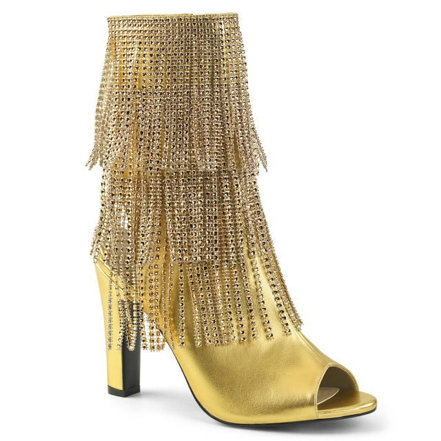 PLEASER【取り寄せ】ラインストーンフリンジオープントゥーブーツサンダル/品番:QUEEN-100/QUEEN100/10cmヒール/歩きやすい/コスプレ/女装/男性用/靴/大きいサイズ/ジェンダーレス/フェイクレザーゴールド/金色