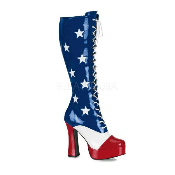 PLEASER【取り寄せ】アメリカンチャンキーヒール厚底ロングブーツ/品番:ELECTRA-2030/ELE2030/12cmヒール/大きいサイズ/衣装/ポールダンス/ダンス/靴/アメコミ/ブーツ/ブルー×レッド×ホワイト/青×赤×星条旗