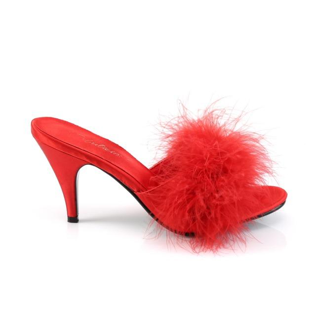 PLEASER 取り寄せ プリーザー・ハイヒールファーミュール 品番 AMOUR 03 AMO03 7cmヒール 靴 ダンス キャバ嬢 衣装 コスプレ シューズ 女装 男性用 大きいサイズ レッド 赤lKT1FcJ3