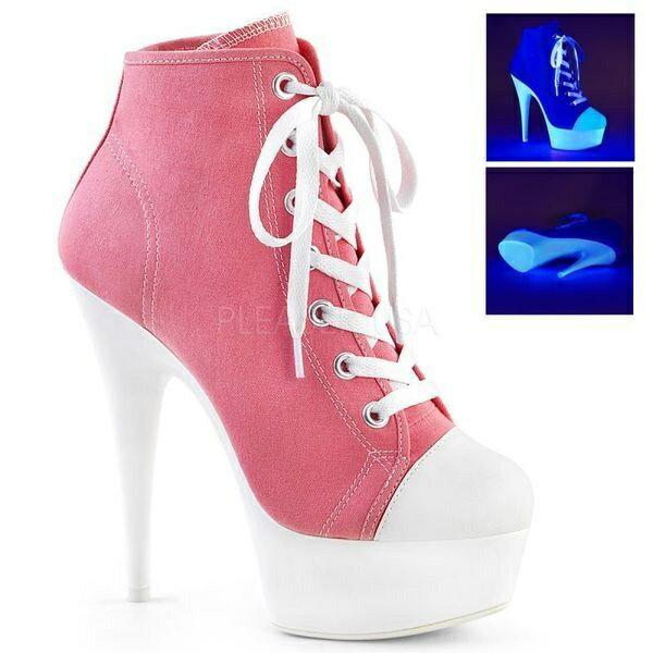 PLEASER 取り寄せ プリーザー・厚底スニーカーヒール 品番 DELIGHT 600SK 02 DEL600SK 02 15cmヒール ダンスシューズ ダンス ポールダンス ピンヒール ハイヒール 衣装 靴 ピンクul1Jc3FKT