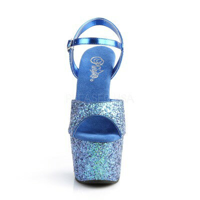 PLEASER 取り寄せ プリーザー・ホログラムグリッター厚底サンダル 品番 ADORE 710LG ADO710LG 17cmヒール ダンスシューズ ダンス 衣装 ポールダンス キャバ嬢 靴 ピンヒール 女装 男性用 大きいサイズ ハイヒール ブルー 青LUzMGqVSp