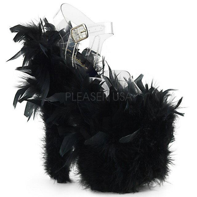 PLEASER【取り寄せ】プリーザー・品番:FLAMINGO-808F/フラミンゴマラボー&フェザーファーサンダル/20cmヒール/ブラック/黒