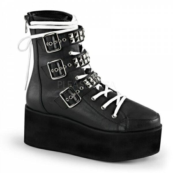 DEMONIA【取り寄せ】デモニア・品番GRIP-101/マルチバックルショートブーツ/合皮ブラック/黒