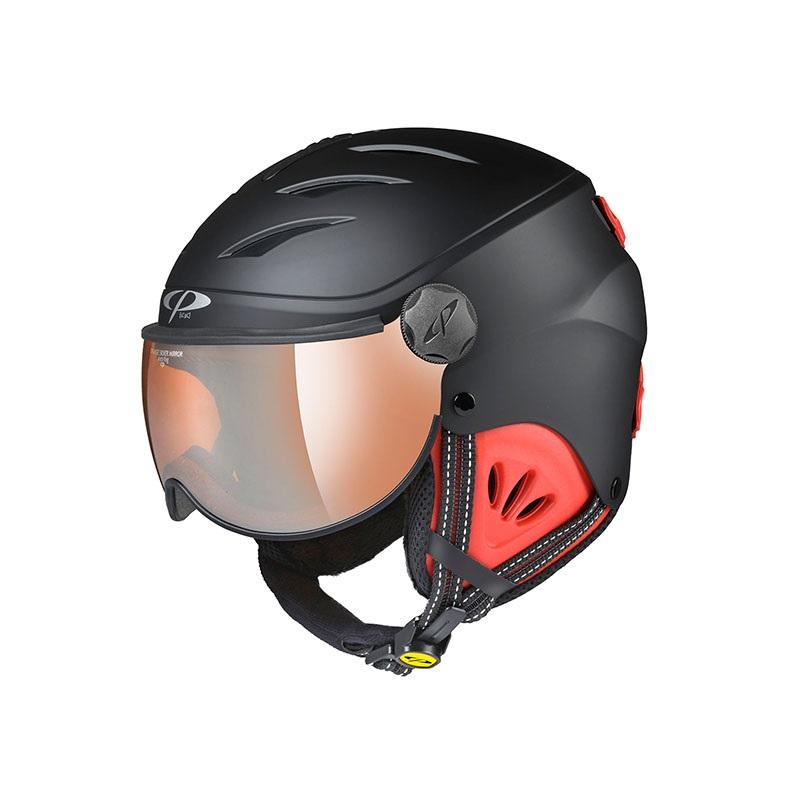 19-20 CP(シーピー)ジュニア子供用 スキー、ウィンタースポーツ用ゴーグル付ヘルメット「CP CAMULINO(カムリーノ)BKR」Jr.Mブラック×レッド(CPC1931)