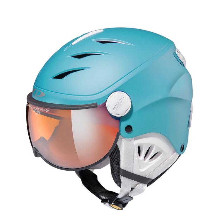 19-20 CP(シーピー)ジュニア子供用 スキー、ウィンタースポーツ用ゴーグル付ヘルメット「CP CAMULINO(カムリーノ)RBW」Jr.Mリバーブルー × ホワイト(CPC1933)