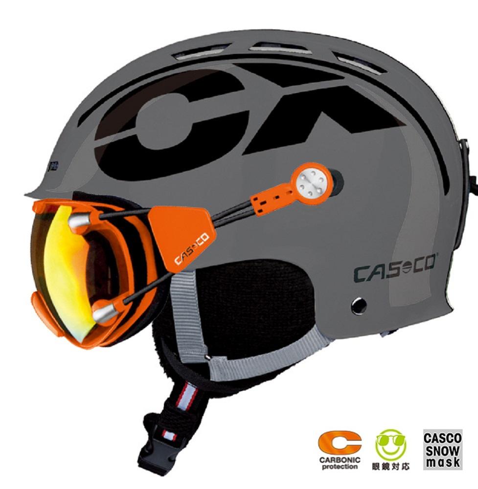 2018-2019 CASCO(カスコ)スキーヘルメット「CX-3 ICECUBE」グレー「FX-70 CARBONIC」オレンジ×レッド