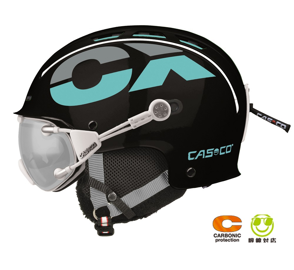 2018-2019 CASCO(カスコ)スキーヘルメット「CX-3 ICECUBE」ブラック×ブルー+ゴーグル「FX-70 CARBONIC」クローム×シルバー