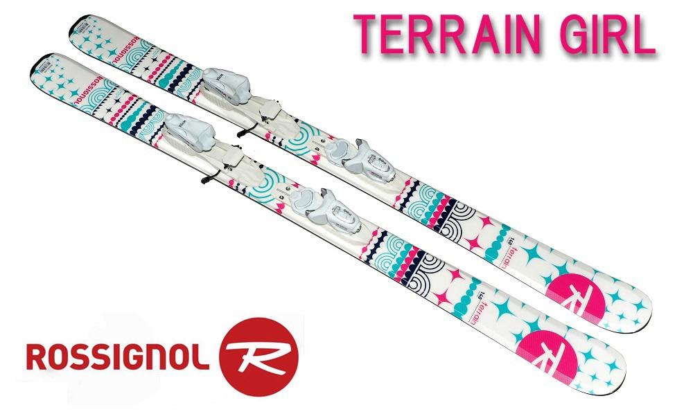 17ロシニョールROSSIGNOL 女子ガールズジュニア初心者用 スキー2点セット「TERRAIN GIRLガール」140cm+金具KID-X4B76