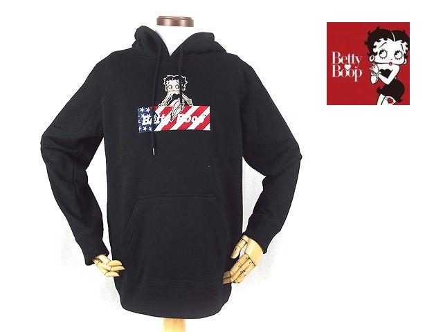 【Betty Boop ベティ・ブープ】刺繍仕様 スウェットPULLパーカー「U.S.FLAG BOX BETTY」【メール便不可】