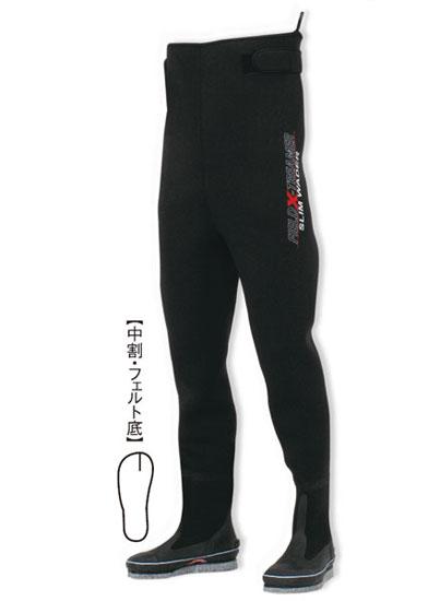【お買い物マラソン】 阪神素地 スリムウェーダー(中割) フェルト底[ファイバーシャンク入り] ブラック 24B