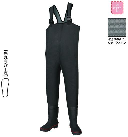 阪神素地 胴付長靴[先丸・ラバー底] ブラック 24?