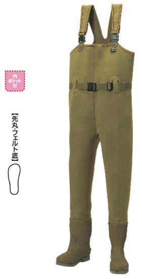 阪神素地 チェストハイウェーダー[先丸・フェルト底] カーキ 28cm