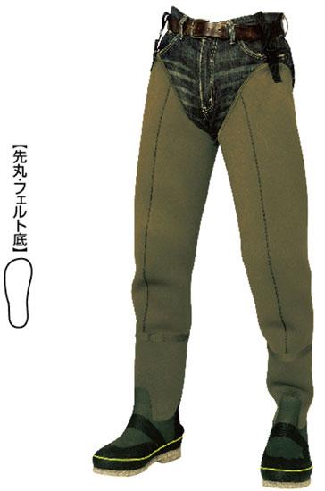 【お買い物マラソン】 阪神素地 水中長靴[先丸・フェルト底] カーキ 27?
