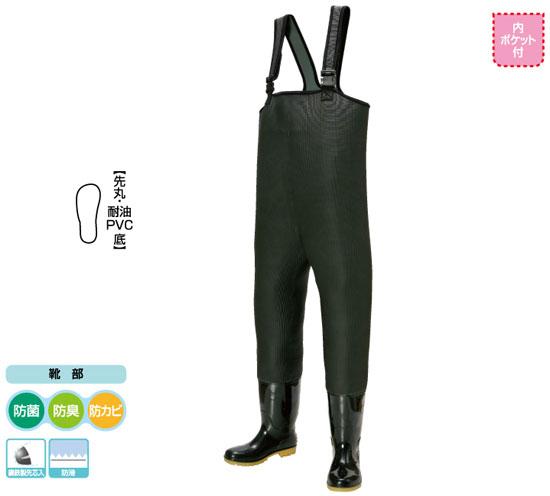 【お買い物マラソン】 阪神素地 胴付長靴 PVC耐油底[先芯入] ブラック 26?