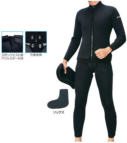 阪神素地 ウェットスーツアジャスター付4点セット ブラック 3LO