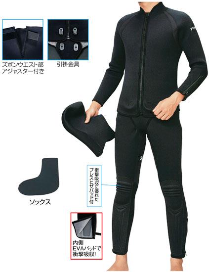 阪神素地 ストレッチウェットスーツアジャスター付4点セット ブラック 3LO