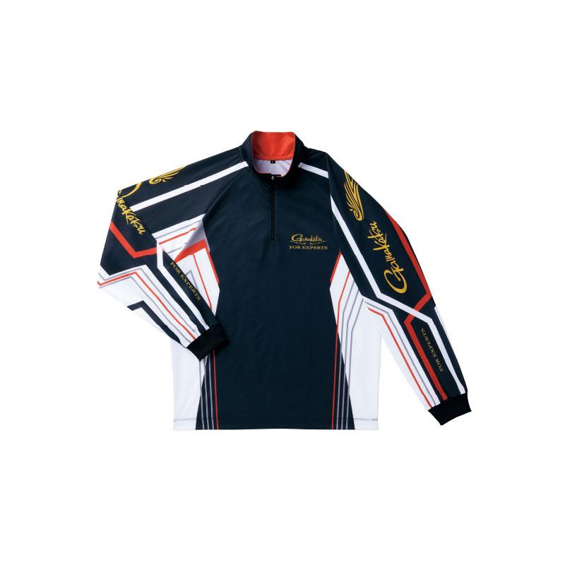 【お買い物マラソン】 がまかつ 2WAYプリントジップシャツ ブラック 7L