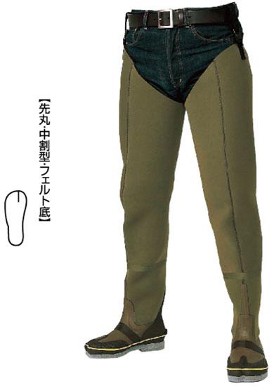 【お買い物マラソン】 阪神素地 水中長靴[中割・フェルト底] カーキ 25cm