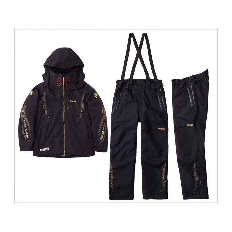 サンライン SUW-1803 ディアプレックス ウォームアップスーツ ブラック LL / 釣り 防寒着 上下セット
