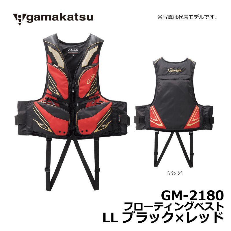 【お買い物マラソン】 がまかつ GM-2180 フローティングベスト ブラックxレッド LL / 釣り 救命胴衣 ライフベスト