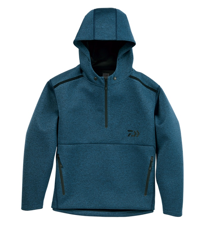 【お買い物マラソン】 ダイワ DJ-28008 ウィンドブロックニットハーフジップフーディーフェザーブルー L / 釣り 防寒 ジャケット