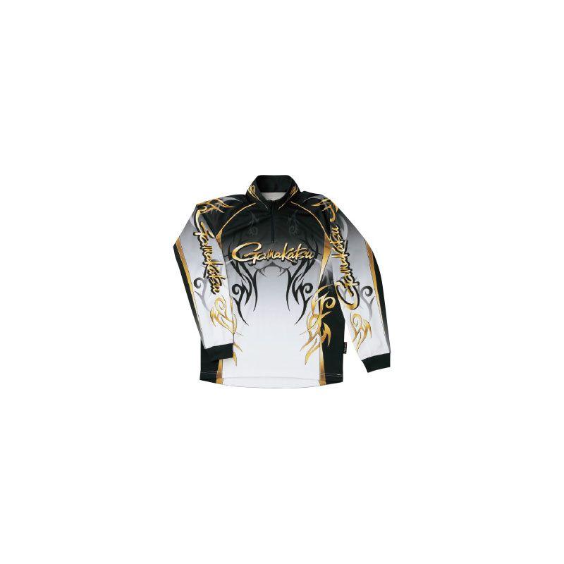 【お買い物マラソン】 がまかつ GM-3531 2WAYプリントジップシャツ(長袖) ブラック LL / がまかつ シャツ 長袖