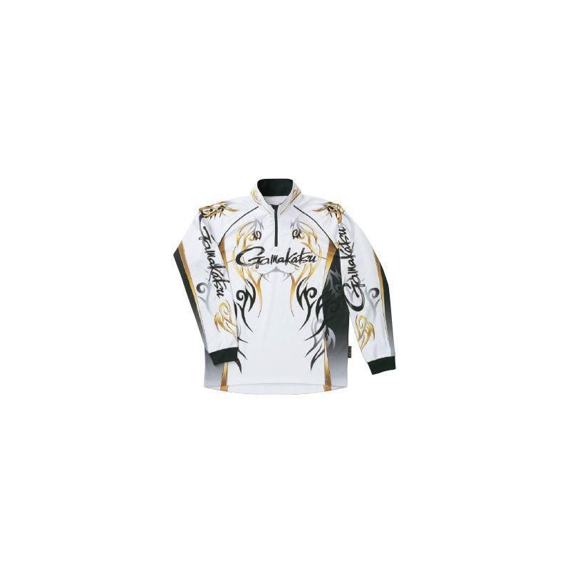 がまかつ GM-3531 2WAYプリントジップシャツ(長袖) ホワイト M / がまかつ シャツ 長袖