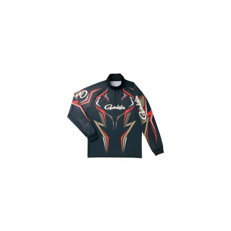【お買い物マラソン】 がまかつ GM-3540 2WAYプリントジップシャツ(長袖) ブラック/ゴールド M / がまかつ シャツ 長袖