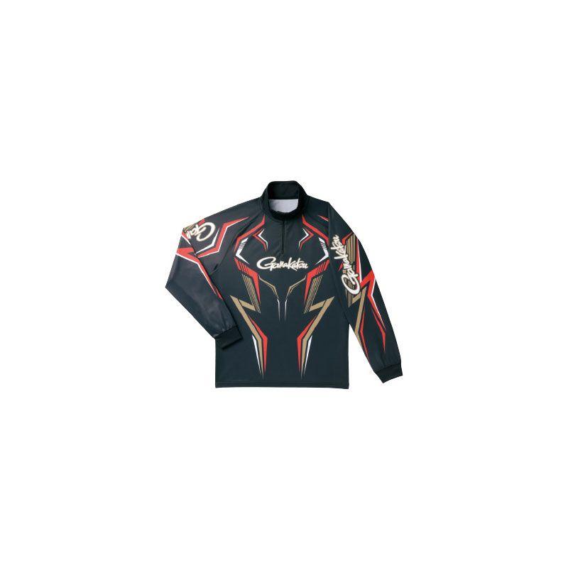 【お買い物マラソン】 がまかつ GM-3540 2WAYプリントジップシャツ(長袖) ブラック/ゴールド 7L / がまかつ シャツ 長袖